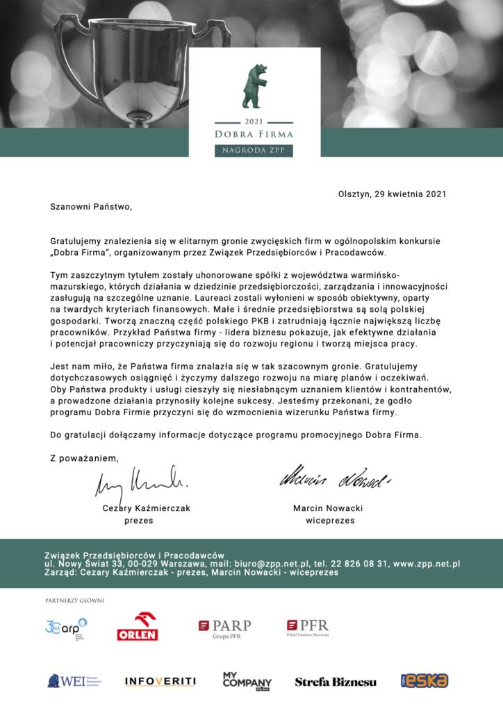 List gratulacyjny Olsztyn